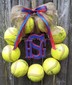 Monogram Softball Wreath with Burlap and Ribbon - This would be awesome with game balls through out the years of  softball playing!!