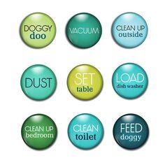 Chore Magnets - Job Chart Magnets - Magnetic Chore Chart - Chores - Home-school Family - Preschool Fun - Chores For Kids