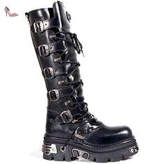 New Rock Unisexe Noir Bottes en moto gothique métallique - M.272 (EU 40, noir) - Chaussures new rock (*Partner-Link)
