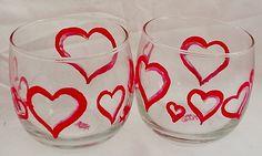 Valentine Hearts Hand Painted Glass votive set by EkesArt on Etsy, $10.00
