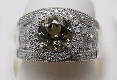 RARE 2 Ct Round Zultanite & .75 Ct Diamond Wide Band Ring NWT 14k WG