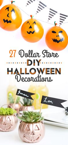 Great ideas for DIY inexpensive halloween decorations to make with stuff from the dollar store!