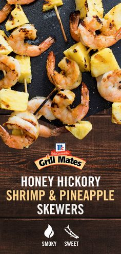 Toss shrimp with McCormick® Grill Mates® Honey Hickory Rub to coat with smoky flavor. Skewered with fresh pineapple, it's the ultimate griller combo of savory and sweet. Kabob Recipes, Grilling Recipes, Fish Recipes, Seafood Recipes, Appetizer Recipes, Appetizers, Cooking Recipes, Healthy Recipes, Grilling Tips