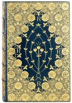Cobden-Sanderson Binding. On: Dante Gabriel Rossetti. Poems. London: F. S. Ellis, 1870. Deep blue goatskin, richly gilt to a floral mandorla pattern, with gilt and goffered edges, and with endleaves of Morris silk brocade; signed and dated 1891. The delicate floral patterns, here using roses and tulips, are inspired by Morris designs but do not slavishly copy or follow them.
