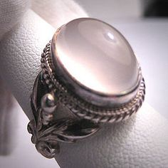 Vintage Moonstone Ring Antique Victorian Style Silver