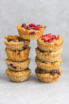 Baked oatmeal cups - the perfect healthy make-ahead breakfast for busy mornings. Best of all, includes 8 different flavors to prep ahead.