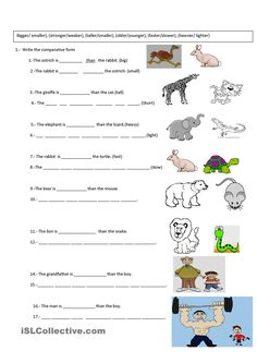 Comparative Exercise - English Esl Worksheets images ideas from Worksheets Ideas Writing Lessons, Writing Skills, Comparative Adjectives Exercises, English Lessons, Learn English, Degrees Of Comparison, Adjective Worksheet, English Exercises, Worksheets For Kids
