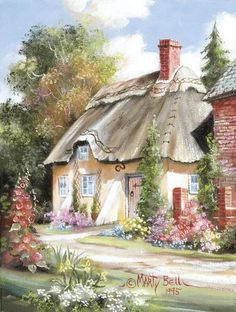 Burton Cottage by Marty Bell, American artist Storybook Cottage, Cottage Art, Cottage Ideas, Oil Painting On Canvas, Painting & Drawing, Canvas Art, Art And Illustration, Belle Image Nature, Bell Art