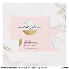 Abstract Modernist Marble/Gold Circle Logo Pink II Business Card