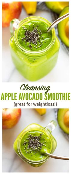Cleansing Apple Avocado Smoothie with banana, ginger, and spinach. Vegan, high fiber, and perfect for weightloss, this easy, creamy vegan green smoothie will keep you full all morning! #greensmoothie #avocadosmoothie #healthy #weightloss via @wellplated