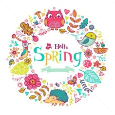 Hello Spring Banner In Doodle Style,	acorn, animal, art, background, banner, beautiful, beetle, berry, card, decoration, design, doodle, flower, forest, graphic, greeting, hello, icon, illustration, leaf, nature, outline, owl, plant, spring, style, tamplet, twig, vector, welcome