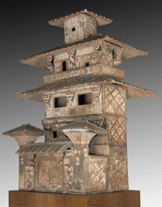 A five-story Chinese tomb model of a house provides insight into the architecture of the Han dynasty. No real towers of the period remain.