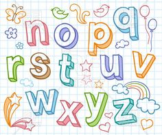 Colorful sketchy font - shaded letters on checkered paper, download royalty-free vector clipart (EPS)