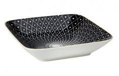 Schale China, Eck, schwarz, Goldrand - Servieren Sie Ihren Gästen leckere Kleinigkeiten in dieser stilvollen Schale. Die Schale ist nicht geeignet für die Mikrowelle.Material: PorzellanMarke: NANA