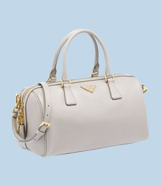 2351a0a5136e Prada  Saffiano Lux Calf Leather Top-Handle Bag in Pale Grey -  O