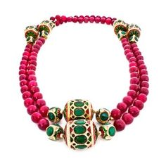 Onyx Royal Neckpiece. This single-strand onyx necklace features handcrafted jadau work from Rajasthan, India.