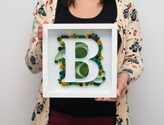 Unique Personalized Gift Monogram B Quilling Quilled Letter B Name Framed Initials Wall Hanging Art Home Decor Nursery Art Baby