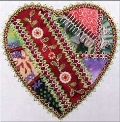 Vintage Hand Embroidered Valentine's Day Lovely Lace Crazy Quilt Heart * DIY Quilt Block Pattern, Paper Piecing & Sewing Inspiration * Perfect use for vintage fabrics and trims!