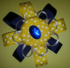 Navy Blue, White, and yellow polka dot hairbow