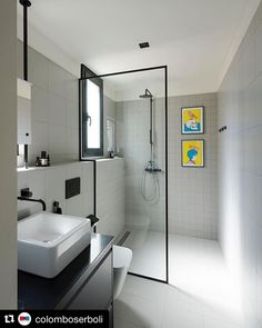 Thinking of remodelling your small bathroom? Here are some ideas to help you remodel your small bathroom while staying in your budget! Consider getting rid of the bulky tub and add a walk in frameless shower. Adding funky artwork to your shower can be a f Bad Inspiration, Bathroom Inspiration, Modern Bathroom Design, Modern Interior Design, Bathroom Designs, Diy Interior, Interior Paint, Diy Bathroom Decor, Small Bathroom