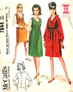Sweet Dress with or without Ruffle Collar Bust 31 by SewVintageNow Vintage  Fabrics 97fbc63a6