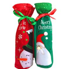 2pcs Christmas Wine Bottle Covers Bags Dinner Table Decoration For Home Party Decor Green Santa Claus Red Snowman