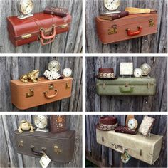 suitcase eclectic wall shelves