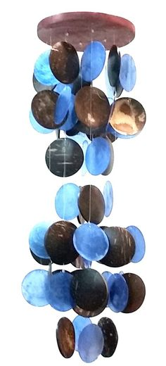 """Amazing Grace Beautiful Wind Chime 19""""h, 5""""w Blue Capiz and Coco Shell"""