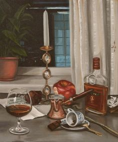 """Evening. Coffee and brandy"" by Irina Sergeyeva. Oil painting on Canvas, Subject: Still life, Photorealistic style, One of a kind artwork, Signed on the front, This artwork is sold unframed, Size: 50 x 60 x 0.5 cm (unframed), 19.69 x 23.62 x 0.2 in (unframed), Materials: oil"