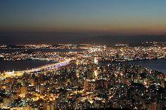 Centro de Florianópolis visto do Morro da Cruz (noite) - Foto: Graziella Bergamin Hertzog
