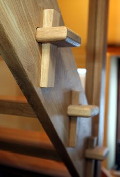 Through tenons on staircase