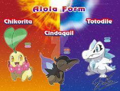 Chikorita Cyndaquil and Totodile  Alola form by badafra.deviantart.com on @DeviantArt