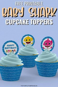 These Baby Shark Cupcake Toppers will take a plain frosted cupcake from meh to wow! If you're planning a Baby Shark Party just pop these toppers into cupcakes for an easy way to tie the theme together! #BabySharkPartyCupcakeToppers #FreePrintables #ThePurplePumpkinBlog #BabySharkParty Party Food Labels, Party Printables, Free Printables, Birthday Party Decorations, Birthday Parties, Free Birthday, Shark Cupcakes, Cupcake Toppers Free, Purple Pumpkin