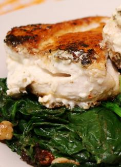 Skinny Feta Stuffed Chicken! ABSOLUTELY LOVE this recipe - such bold flavor!!