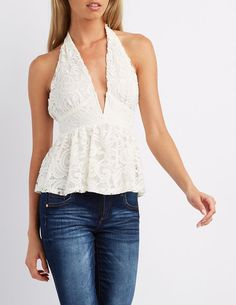 White Notched Lace Halter Top by Charlotte Russe