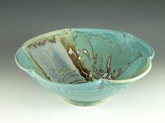 Handmade serving bowl in turquoise blue wheel by Hodakapottery, $48.00