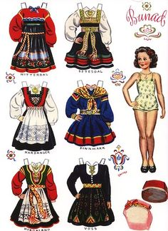 Scandinavian Norwegian Bunad Paper Dolls - Set of 4 Barbie Paper Dolls, Vintage Paper Dolls, Paper Toys, Paper Crafts, Folk Costume, Costumes, Round Robin, Doll Home, Paper Dolls Printable