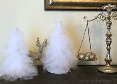 How to make beautiful DIY tulle trees for Christmas or winter decor.  girlinthegarage.net