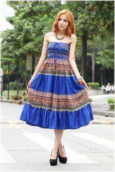 Ladylike Color Matching Strapless Women's Bohemian Summer DressesMaxi Dresses | RoseGal.com