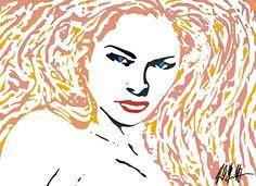 Frau mit langen Haaren - Orginal: Acryl 1m x 1,20m - Künstler: Reinhard Schäffler