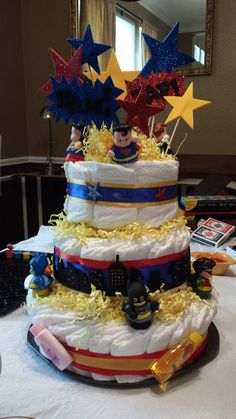 super hero diaper cake!!