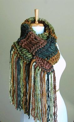 Chunky Hand Knit Scarf Drop Stitch in Woodlands Shades by PhylPhil, $49.00
