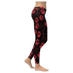 InterestPrint womens red dog paw print on low rise yoga outdoor Leggings  plus size:XXS