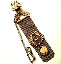 FABULOUS  VICTORIAN MOURNING JEWELRY MESH WATCH CHAIN W/ PICTURE WATCH FOB