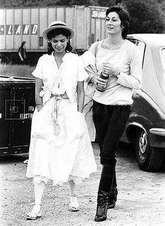 Anjelica and Bianca Jagger
