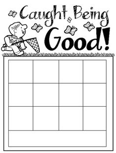 """FREE Download! """"Caught Being Good"""" - Toddler Behavior Chart. Positive behavior incentive sticker chart that's just the right size for very young children. Includes space to write the child's name on the chart and spaces for 12 stickers. Appropriate for children ages 18 months through 3 years old."""