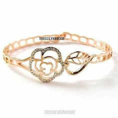 18K Rose Gold Plated Rose Flower Fashion Bangle Bracelet 13528   eBay $12