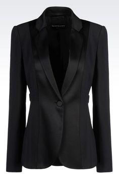 Emporio Armani Women One Button Jacket - TUXEDO JACKET IN CADY Emporio Armani Official Online Store