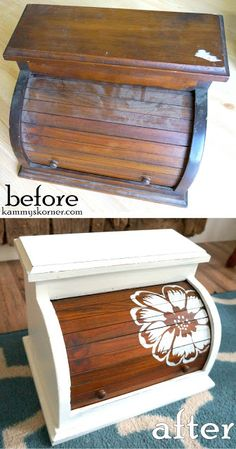 Kammy's Korner: 10 Yard Sale Hacks: Stop Overlooking Items Like These! Wood Jewelry box roll top (or bread box) painting white with stencil flower Refurbished Furniture, Repurposed Furniture, Furniture Makeover, Painted Furniture, Diy Furniture, Repurposed Items, Furniture Logo, Antique Furniture, Thrift Store Crafts