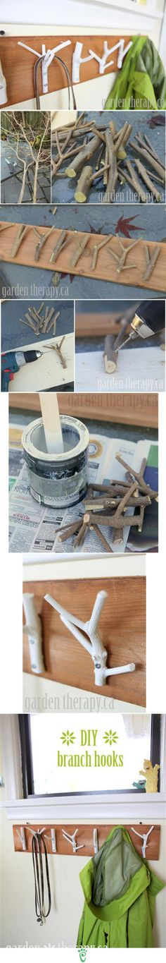 Branches portes manteaux - branches hook diy